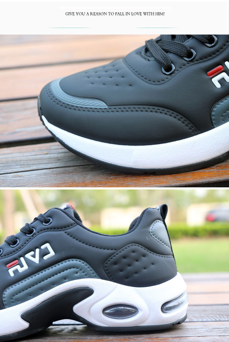 New Men's Casual Shoes Shock Absorption Cushion Shoes Campus Wind Non-Slip Shoes Leather Stitching Men's Casual Shoes