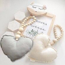 Детская декоративная подушка игрушки сердце деревянные бусины струны игрушки Дети Детская комната Настенный декор украшения реквизит для фотосессии подарок