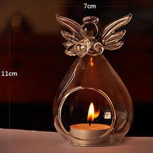 1pc anjo em forma de castiçais de vidro transparente anjo cristal parede pendurado tealight castiçal decoração da parede