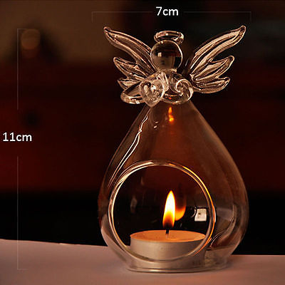 1PC Angel Shaped Glass Candle Holders Transparent Angel Glass Crystal Wall Hanging Tealight Candle Holder Wall Decor Candlestick image