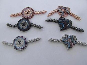 6sets heart disc Elephant Diamond Crystal Eyes Micro Crystal Pave Diamond Animals charm bracelet connectors with double link 20-
