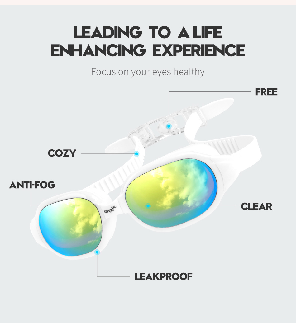COPOZZ Unisex Diopter Swimming Goggles Myopia 0 -1.5 to -7 With Anti fog UV Protecion Waterproof 5