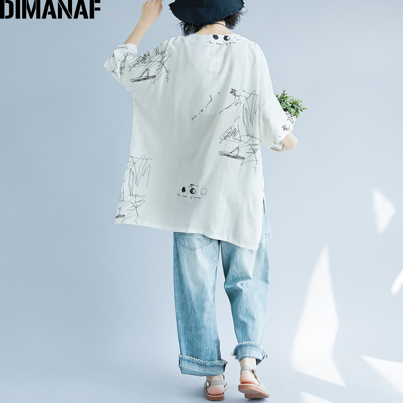 DIMANAF Women Summer Blouse Shirt Plus Size Print Linen Thin Basic Tops Femme Tee Casual Large Clothing Loose Soft Cardigan 2018 4
