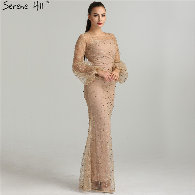 Nude Sexy Mermaid Formal Evening Dresses Glitter Long Sleeves Pearls