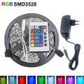 RGB LED strip 3528 5M Strip LED Light RGB DC12V Flexible 24KEY IR Remote Controller 12V 2A Power RGB led strip 10m 12v 2835
