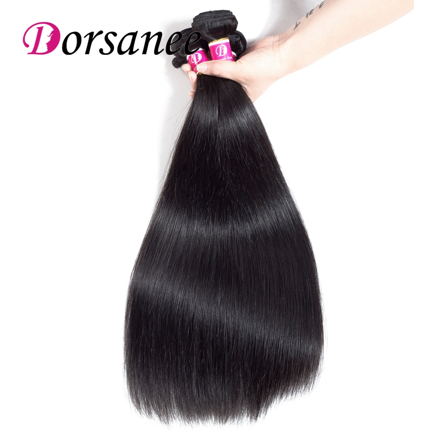 Dorsanee 3 Bundles Indian Straight Hair Wave 100% Human Hair Extensions Natural Color No ...