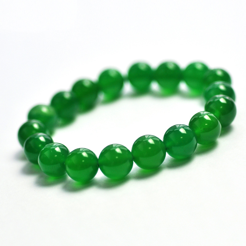 MOROW Handmade 100% Natural Dark Green Agates Beads Fashion Round Jewel Stretch Womens Jeweley Charm Bracelet 6-14mm for Gift
