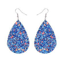 Boho PU Leather Glitter Teardrop Dangle Earrings for Women Big Water Drop Leather Statement Earring Red Pink Party Ear Jewelry(China)