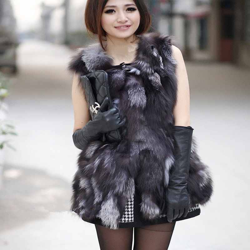 Autumn Lady Genuine Real Fox Fur Vest Waistcoat Winter Women Fur Gilet Outerwear Coats Jacket VK3017(China)