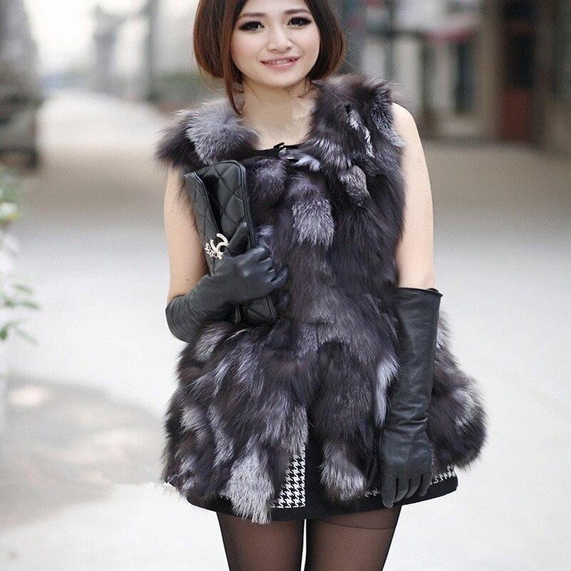 Осенние женские из натуральной лисы Мех животных жилет зима Для женщин Мех животных жилет верхняя одежда Пальто для будущих мам куртка vk3017