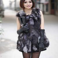 Autumn Lady Genuine Real Fox Fur Vest Waistcoat Winter Women Fur Gilet Outerwear Coats Jacket VK3017