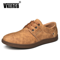 VKERGB Men Shoes England Trend Casual Leisure Shoes Flats Lace Up Shoes Simple Loafers Men's Handmade Breathable split leather