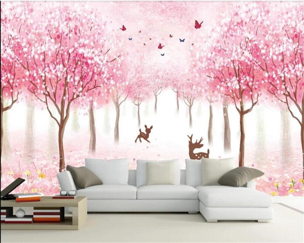 Beibehang Wallpaper 3d Pink Wallpaper Cherry Blossom Butterfly 3d