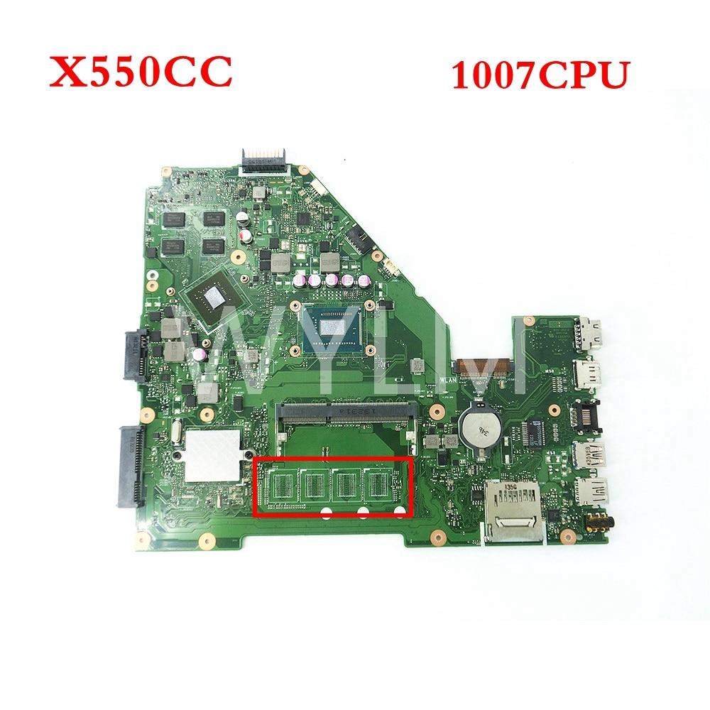 X550CC With 1007 CPU GT720M N14M-GE-S-A2 mainboard For ASUS X550C X550CC Y581C Laptop motherboard 60NB00W0-MBM000 69N0PHM1JA02 free shipping laptop motherboard for x75vc motherboard x75vb main board 60nb0240 mb1020 n14m ge s a2