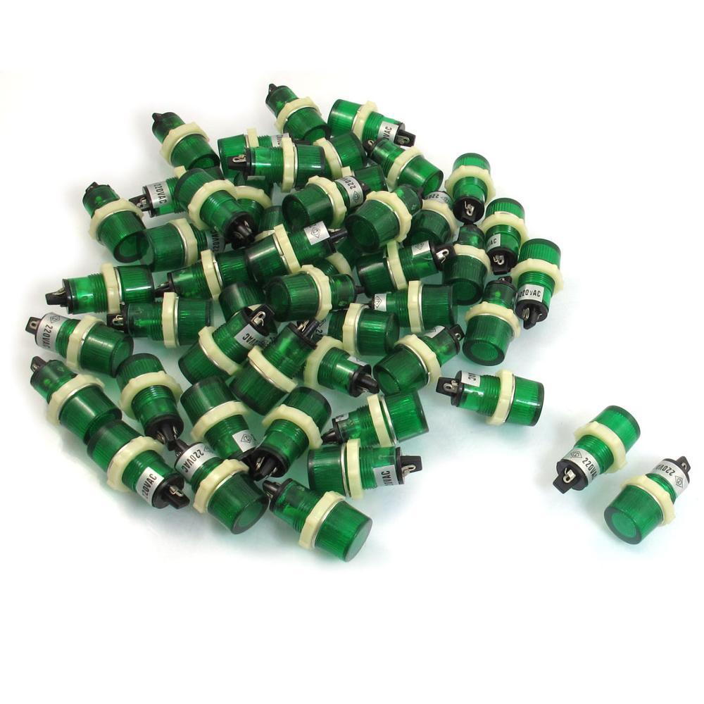 50 шт. 15 мм резьбовой 220Vac зеленый круглый Глава Индикатор Сигнальная Xd15-3 ...