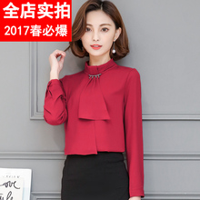 3XL Summer and autumn Newest women Bow chiffon shirt Solid color shirt female white red long sleeve work blouse OL 8832B