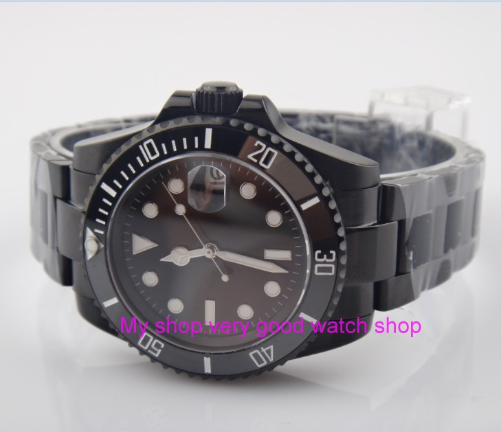 40mm PARNIS Sapphire Glass Black ceramic Bezel Automatic Self-Wind movement Men Watches luminous Mechanical watches PVD case 24a sapphire 2017 new fashion parnis 45mm black dial st2557 automatic self wind movement men s watch gmt mechanical watches 291