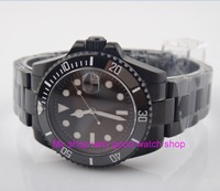 40mm zafiro Parnis vidrio negro cerámica bisel automático movimiento de viento automático hombres relojes luminosos relojes mecánicos carcasa de PVD 24a