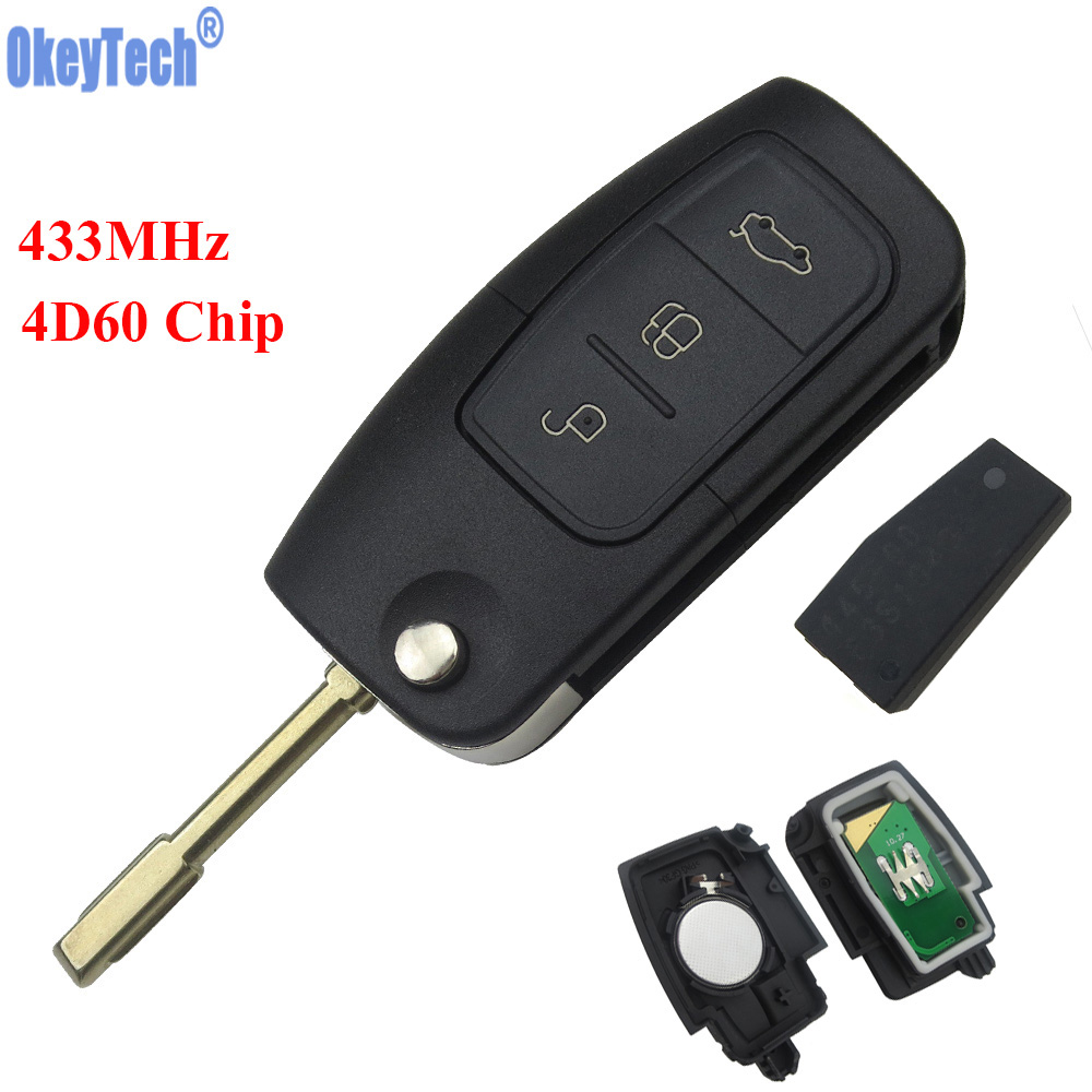 OkeyTech 3 Buttons 433MHz 4D60 Chip Keyless Entry Fob Car Remote Key for FORD Mondeo Focus Fiesta Replacement Remote Key Case