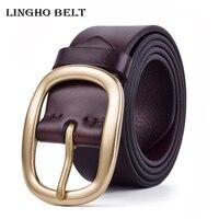 2017 Hot Sale 100 Genuine Leather Mens Belt Luxury Casual Copper Buckle Belts For Men Famous