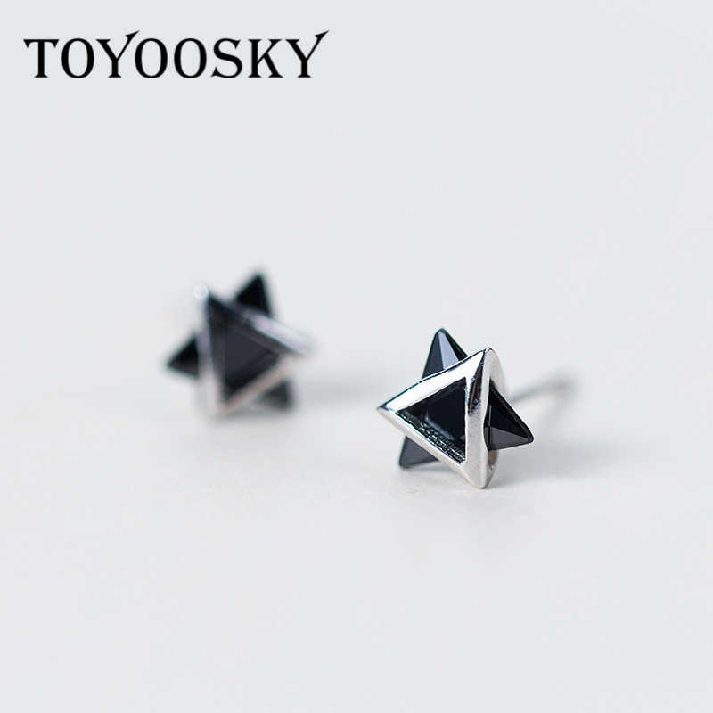 9808bed9e TOYOOSKY 925 Sterling Silver 3D Solid Triangle Geometry Stud Earrings for  Women Men Black White Choices