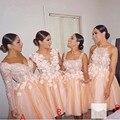 Modest Curto Da Dama de Honra Vestidos Baratos Mangas Compridas Querida Backless Apliques Flores Vestido de Noiva Vestidos 2017 Vestidos