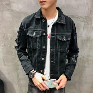 Image 3 - Jaqueta em denim masculina, jaqueta curta estilo coreano para homens, estilo hip hop