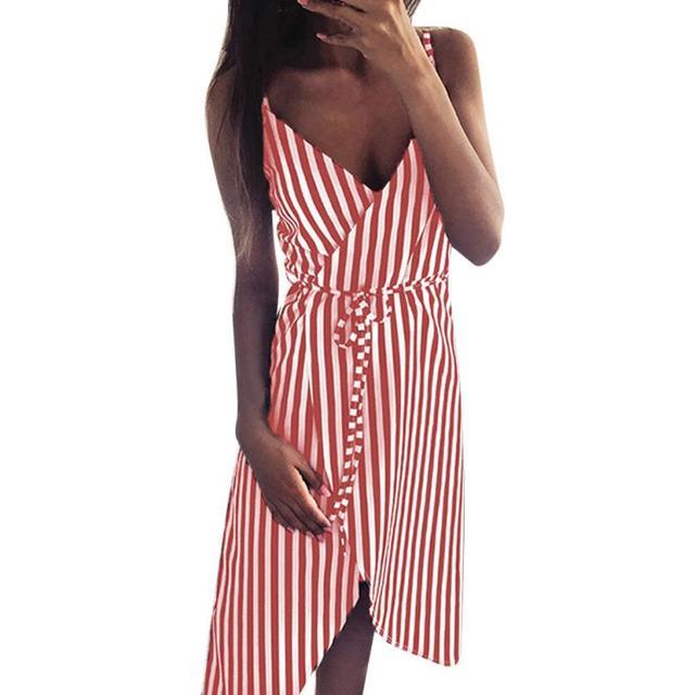 KANCOOLD dress Women Stripe Printing Sleeveless Off Shoulder Dress Evening Party Vest Empire Sashes dress women 2018AUG1