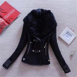 Image 2 - Femmes laine décontracté manteau hiver automne 2017 mode nouvelle marque grande taille S XXL fermeture éclair mince solide Parka Casaco Feminino
