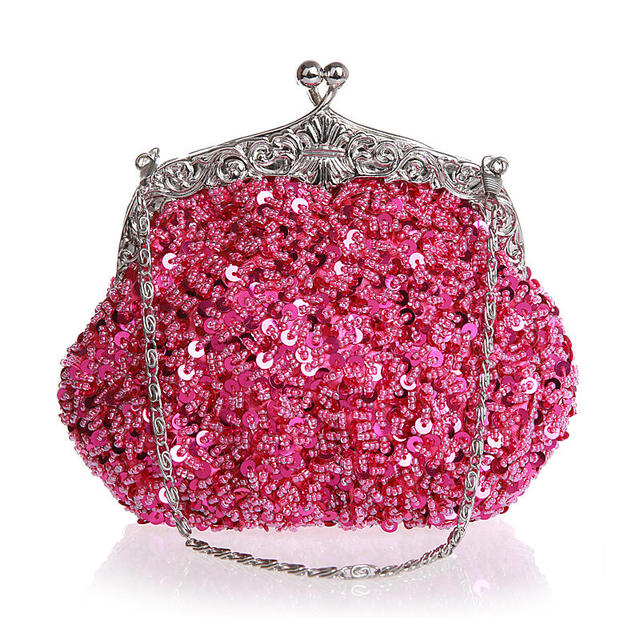 High Quality Hot Pink Ladies Beaded Sequined Wedding Evening Bag Clutch handbag Bride Party Purse Mini Makeup Bag Bolso 03162-N