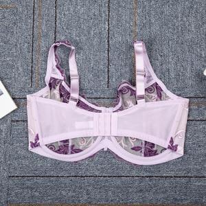 Image 3 - 女性のブラジャーフルカバレッジアンダーレース花刺繍裏地なしブラジャーランジェリー女性のための 34 36 38 40 c d dd ddd f グラム