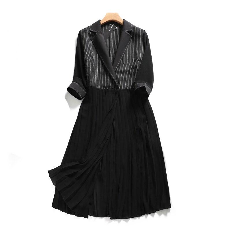 Streetwear 2018 Turn Col De Manches Mince Black Rayé Unique 4xl Longues Soie Été Mousseline Trench Samgpilee L Trois Bouton down Nouveau Quarts qrxtnPr