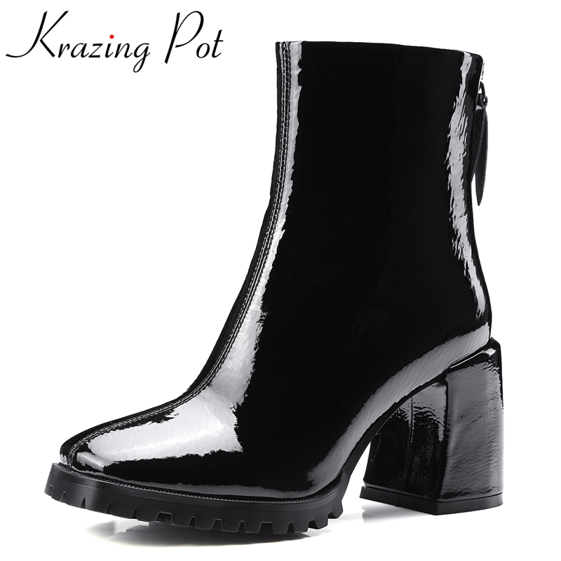 Фотография Krazing Pot 2018 genuine leather fashion boots thick heel superstar shoes motorcycle boots retro runway women mid-calf boots L10