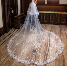 Real Photos 2 Layers 4 Meters Long Lace Woodland Wedding Veil with Comb M Voile De Mariee Bridal Veu Noiva