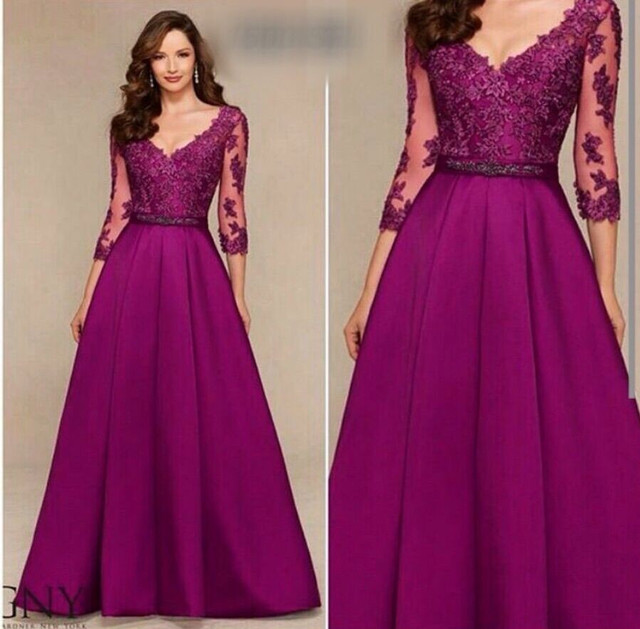 fashion purple long evening dress 2016 half sleeves appliques lace ...