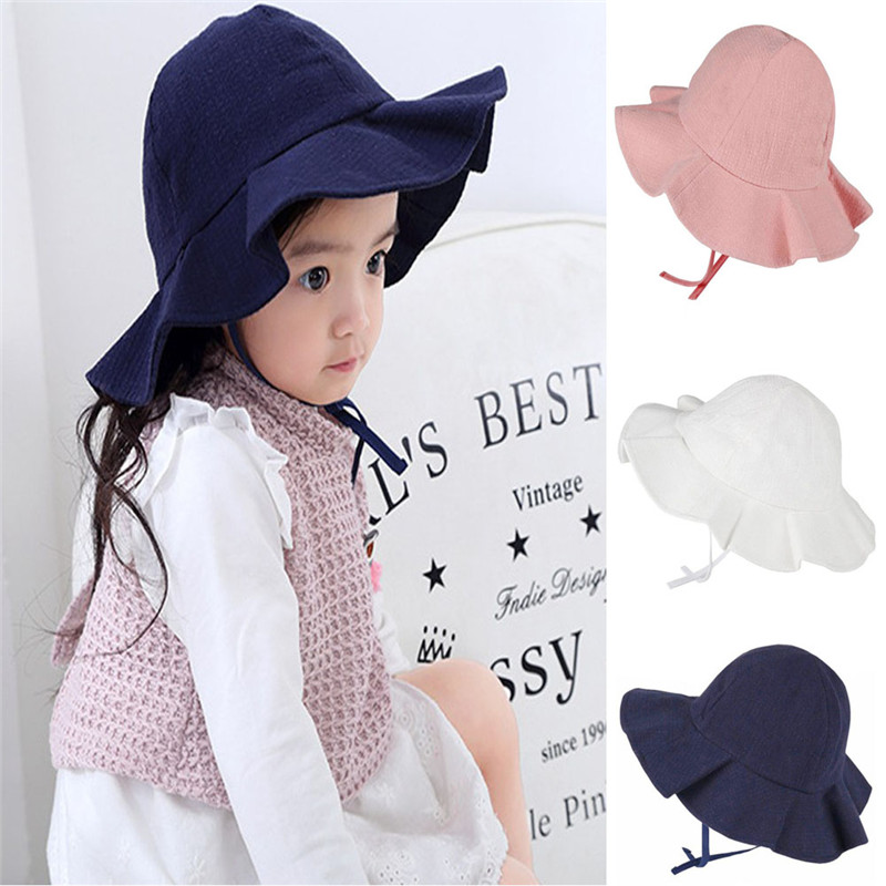 0b90343fa PUDCOCO Cute Baby Solid Sun Hat Summer Beach Hat Adjustable Bucket Cap  Fashion Casual Newborn Toddler Kids Girls 0-4 Years