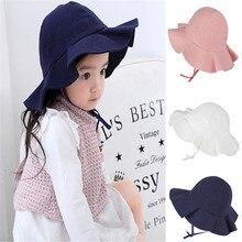PUDCOCO Cute Baby Solid Sun Hat Summer Beach Adjustable Bucket Cap Fashion Casual Newborn Toddler Kids Girls 0-4 Years