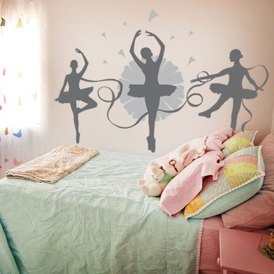 New Fashion Dance Music Child Real Ballet Girl Wall Sticker Ballet Room Wall Decor School Wall