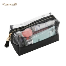 Travel Makeup Organizer Cosmetic Bag Women Girl Transparent PU Portable Waterproof Storage bags Makeup Box Toiletry Pouch Bag