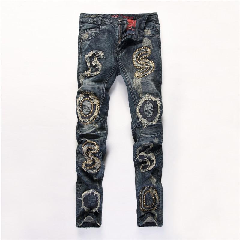 New sosoo patchwork rivets scratched jeans men nightclub slim straight hip hop denim pants streetwear strappati trendy clothing