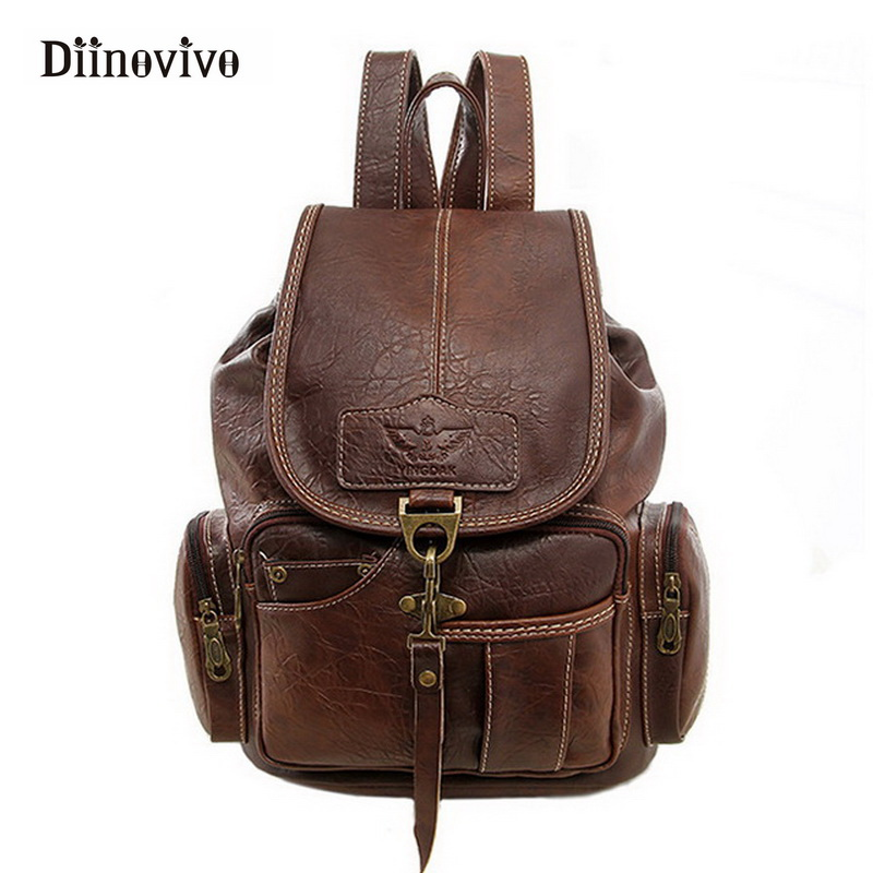 Diinovivo Vintage Women Backpack For Teenage Girls School Bags Fashion Backpacks High Quality Pu Leather Black Bag Pack Whdv0111