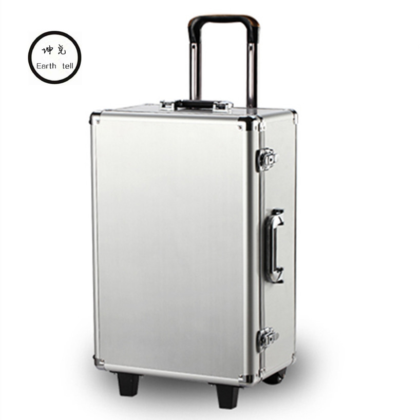 Luxury Aluminum Magnesium Alloy Trolley Luggage Men Business Full Metal Suitcase Bag Women Box Wheels Travel Case Brand Toolbox kundui suitcase women men travel bag thickening aluminum alloy laptop large toolbox lockable storage display box briefcase