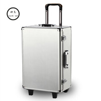 Luxury Aluminum Magnesium Alloy Trolley Luggage Men Business Full Metal Suitcase Bag Women Box Wheels Travel Case Brand Toolbox