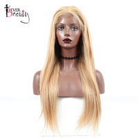 Honey Blonde 250% Density Lace Front Human Hair Wigs #27 Brazilian Straight Colored Lace Front Wigs Pre Plucked Remy Ever Beauty