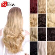 Silike Sintetico 3/4 Mezza Parrucche 24 Inch Biondi Lunghi Ondulati Parrucca con Clip in Extensions 16 di Colore 210G per nero Bianco Delle Donne
