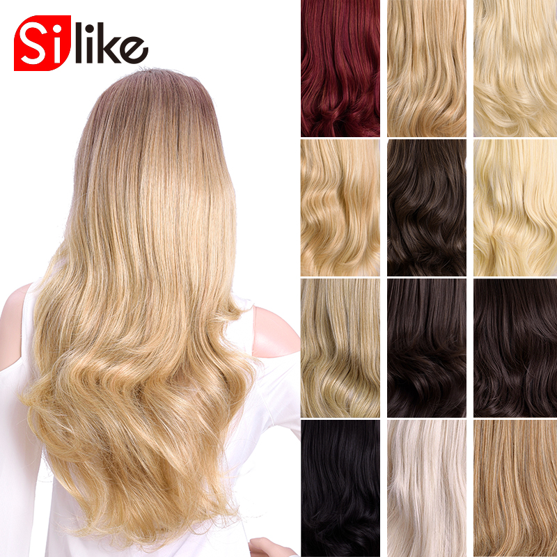 Silike Synthetic 3/4 Half Wigs 24 Inch Long  Blonde Wavy Wig With Clip In Hair Extension 16 Color 210g For Black White Women