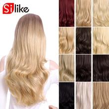 Silike sintético 3/4 metade perucas 24 Polegada longa loira ondulado peruca com grampo na extensão do cabelo 16 cor 210g para preto branco