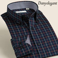 2017 Autumn and Winter Plaid Shirt Male Long-sleeve Slim 100% Cotton Male Easy Care Dress Shirt Plus Size XXS-6XL