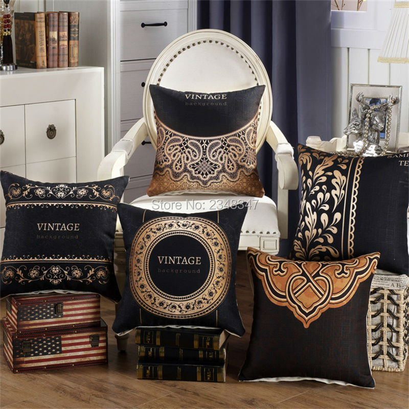 Quality Classy Vintage Thick Linen Home Decorative Pillow Covering Throw Sofa Seat Car Cushion Cover Black Golden Flora Paisley