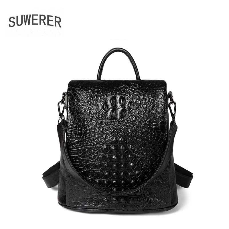 2019 New women Genuine leather bag famou brand real leather women backpack fashion Crocodile pattern women leather backpack2019 New women Genuine leather bag famou brand real leather women backpack fashion Crocodile pattern women leather backpack
